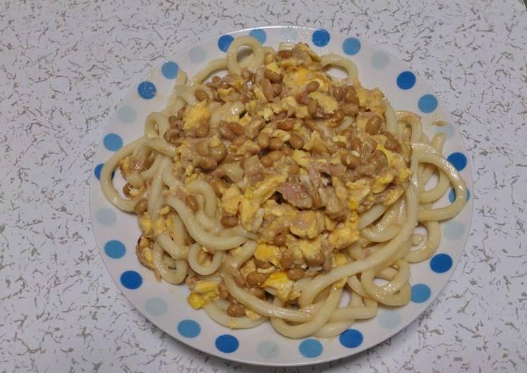 Tuna  Natto Stir-Fried Udon Noodles