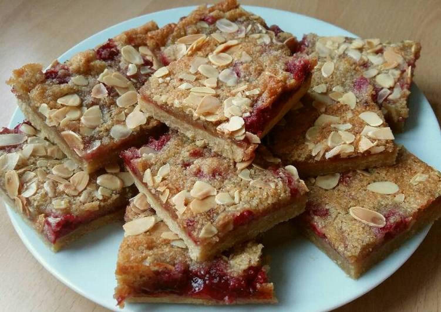 Vickys Raspberry Bakewell Tart Traybake, GF DF EF SF