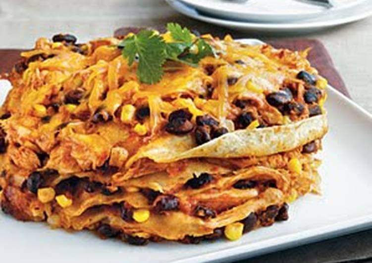 Crock Pot Chicken Enchilada Stack