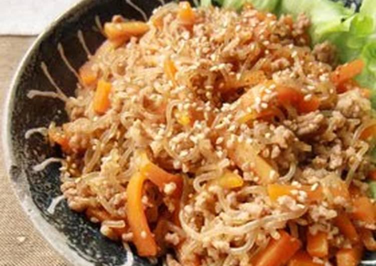Reduced Calorie Shirataki Noodle and Pork Kinpira