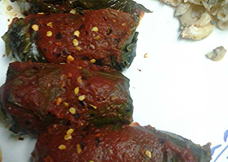 Stuff grape leaves with meat and rice