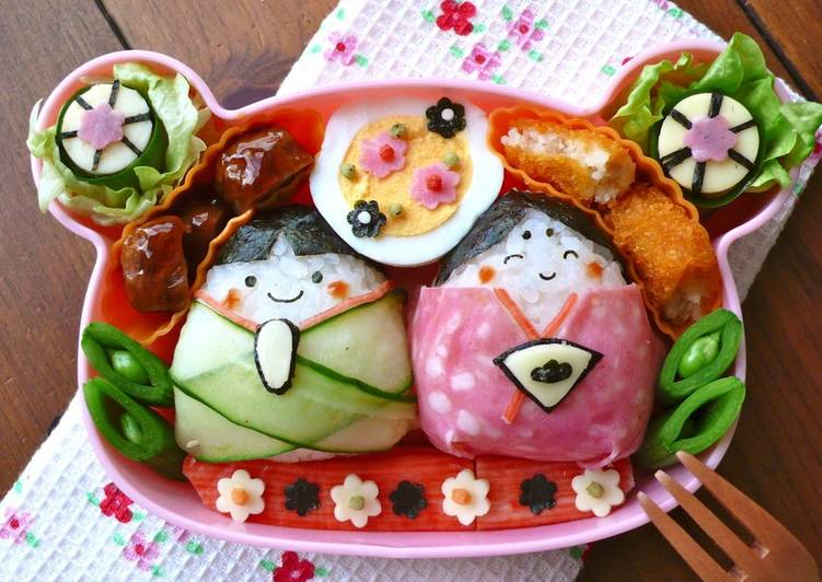 Girl's Festival Bento With Easy Onigiri