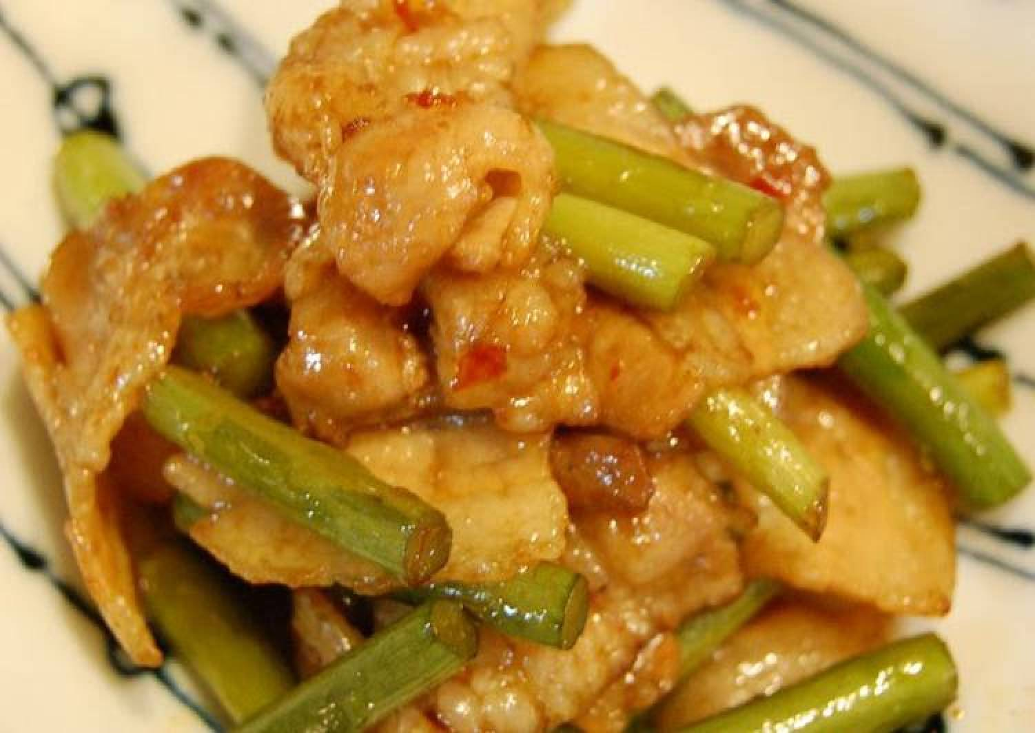 Pork Belly and Garlic Shoot Spicy Stir-Fry