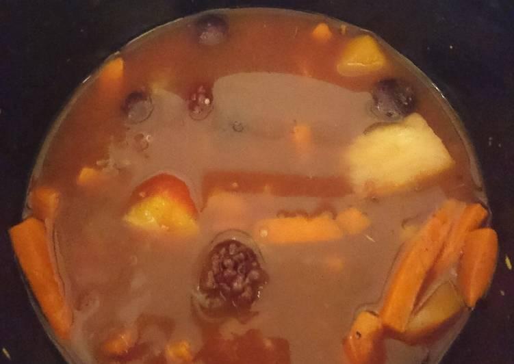 Caribbean vegan fruit, veg & grain stew