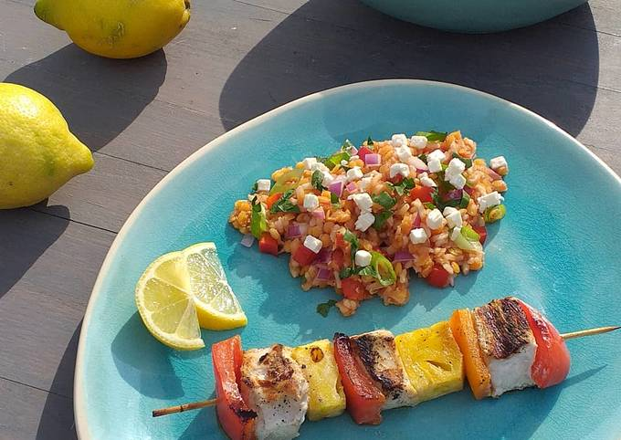 Schritte Um Gordon Ramsay Ananas-Hähnchen-Spieße vom Grill mit Linsen-Reis-Salat zuzubereiten