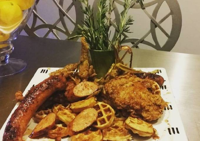 BIANCO MEATS - Cajun Fried Chicken an Andouille Sausage &Waffles