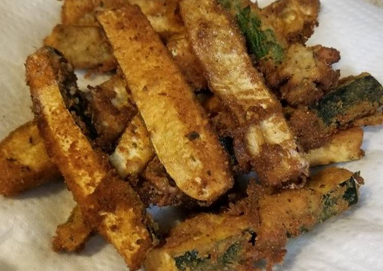Parmesan Crusted Fried Green Tomatoes & Zucchini Spears