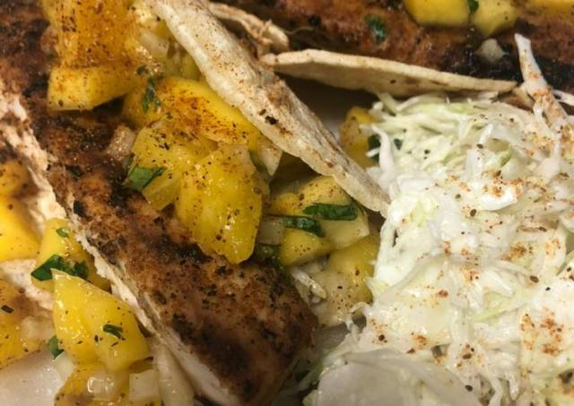 Grilled Mahi Tacos with Pineapple Mango Salsa