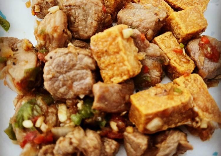 Simple Way to Make Homemade Tokwat Baboy (Tofu and Pork)
