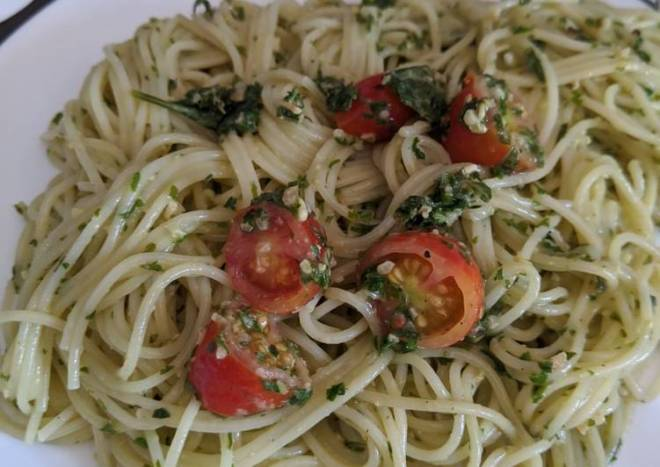 Pesto with angel hair pasta and grape tomatoes