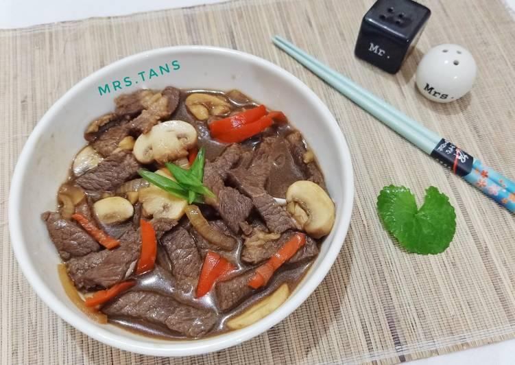 Resep Beef Teriyaki Jamur Simple Terenak