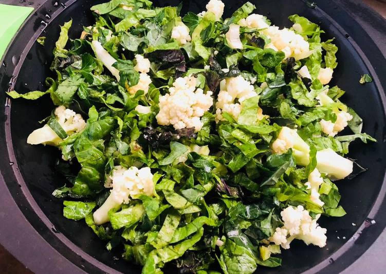 Organic Home Grown Cauliflower and Greens Salad