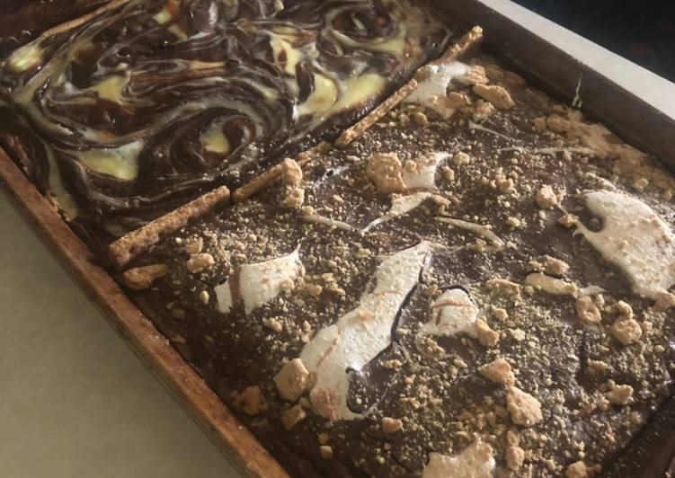 One pan S'mores and caramel cheesecake swirl brownies