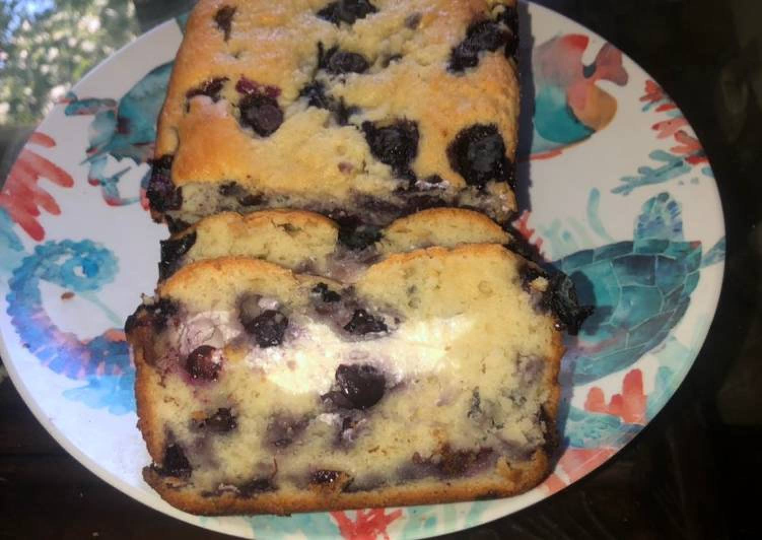 Cream cheese stuffed blueberry loaf