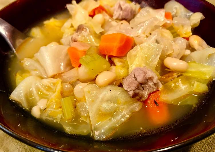 Simple Cabbage & Bean Soup with Pork