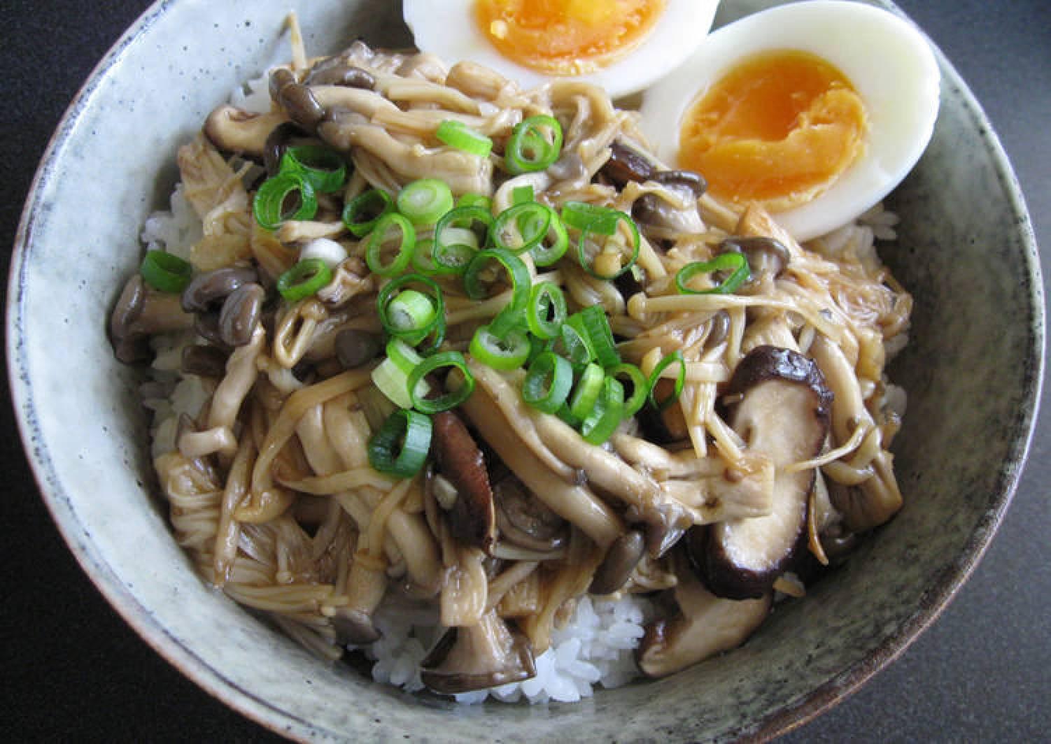 Asian Mushroom Rice Bowl