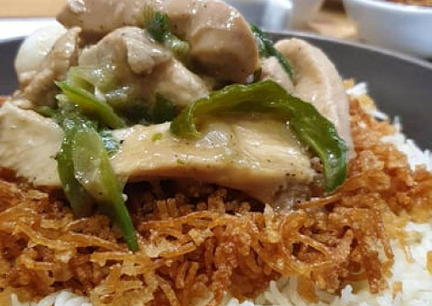 Ginger Chicken with Crispy Noodles & Garlic Rice