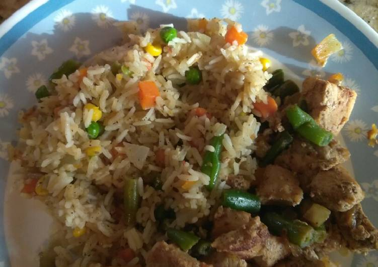 Veggie rice with Pork and string beans yummy