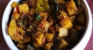 Potato Brinjal Tomato Mix Fry