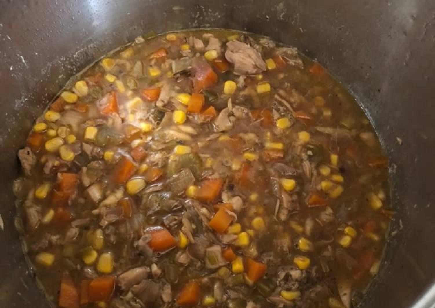 Use-up Chicken Carcass, Sweetcorn & Pasta Broth