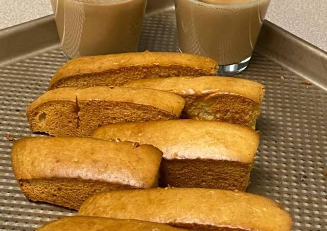 Cake Rusk  Biscottis made out of strips of cake that are Baked