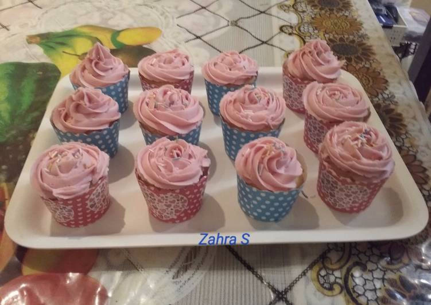 Vanilla cupcakes with butter frosting