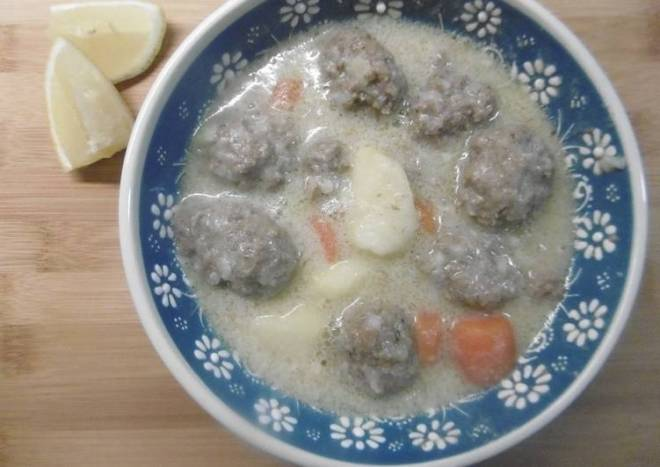 Meatball Soup with an Egg-Lemon Sauce (Giouvarelakia me Augolemono)