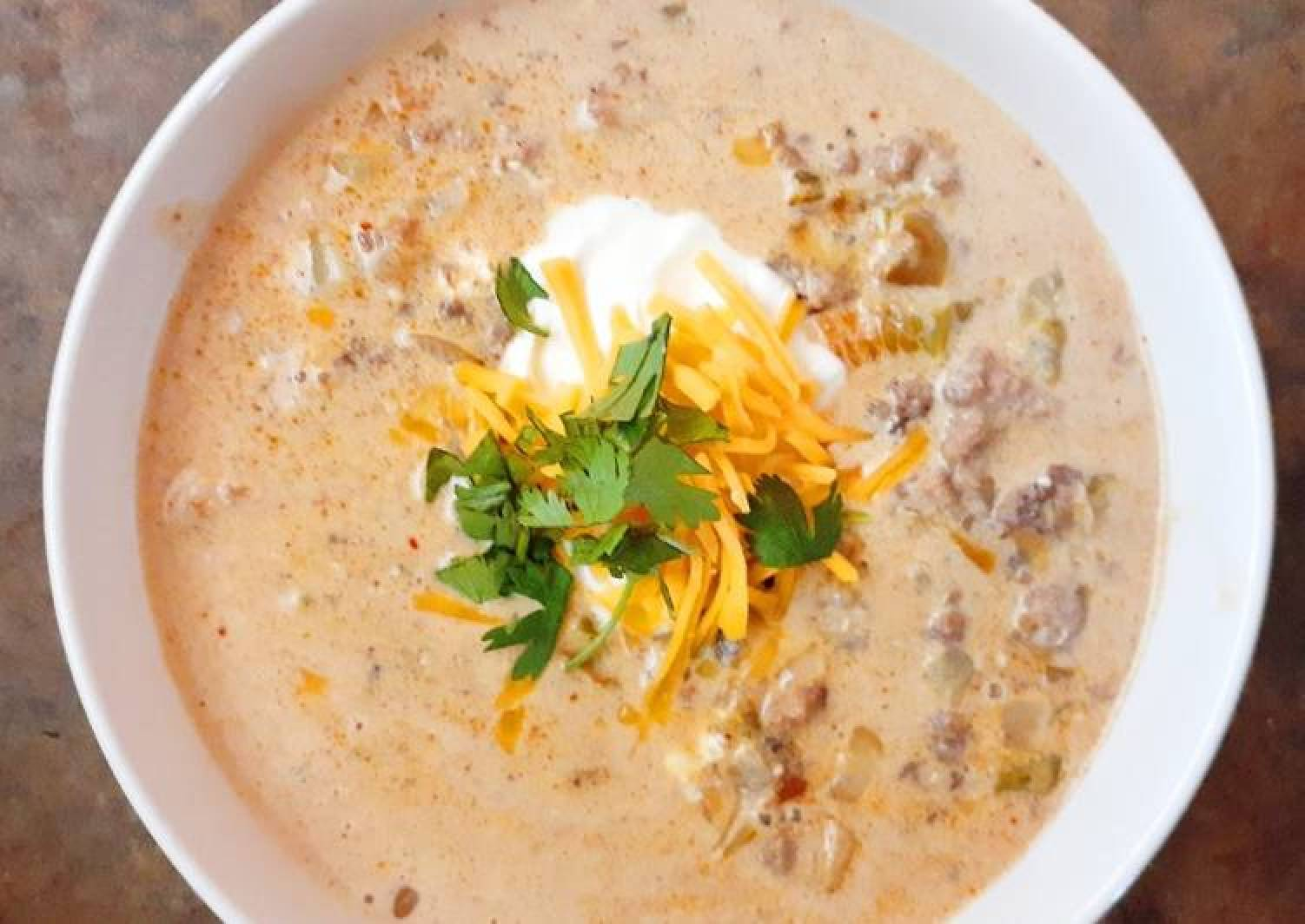 Cheesy Beef and Hatch Chile Soup