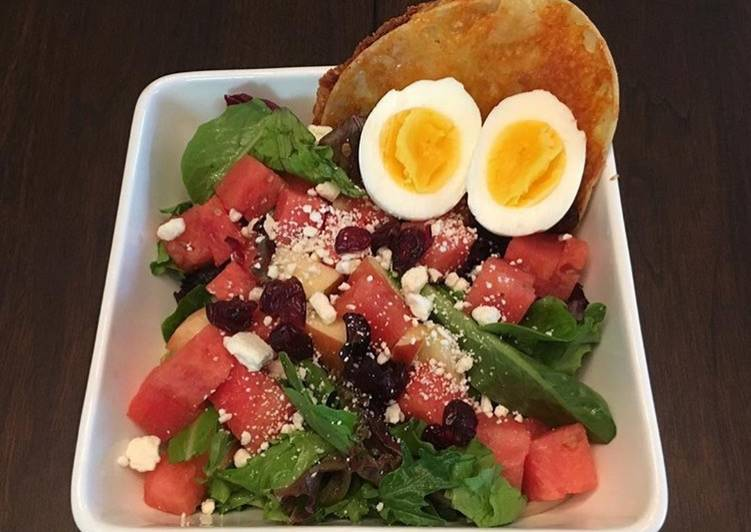 Spinach and Water Melon Salad with Tortilla Grilled Cheese
