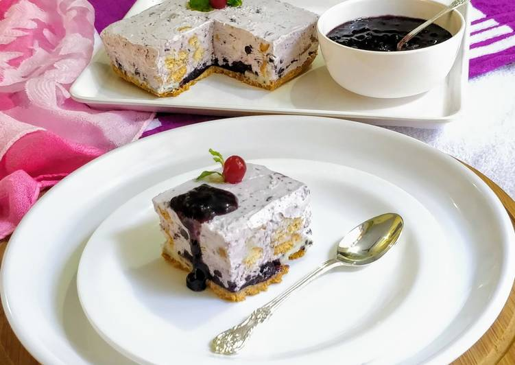 No Bake Blueberry Biscuit Cake