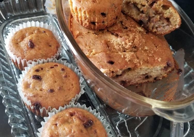 Easiest Way to Make Favorite Chocolate Chip Banana Zucchini Yogurt Muffins