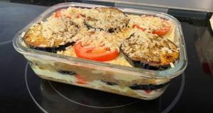 Egg Plants with Potatoes and Minced Meat