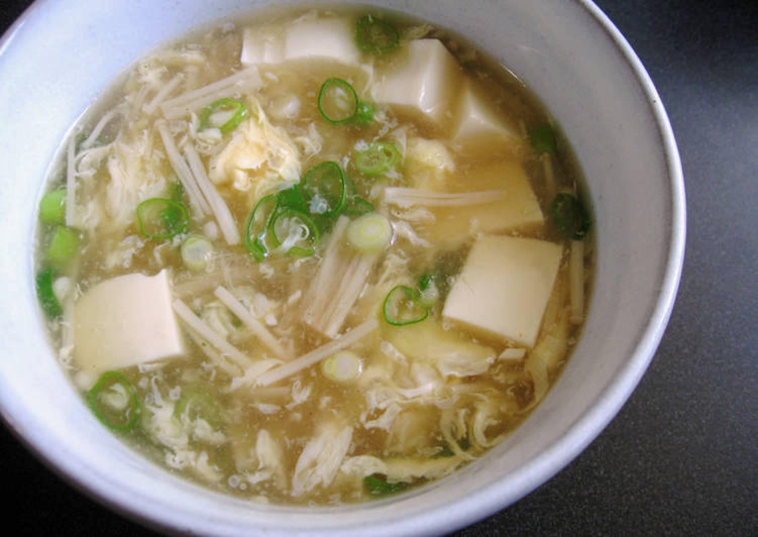 Enoki, Tofu & Egg Soup