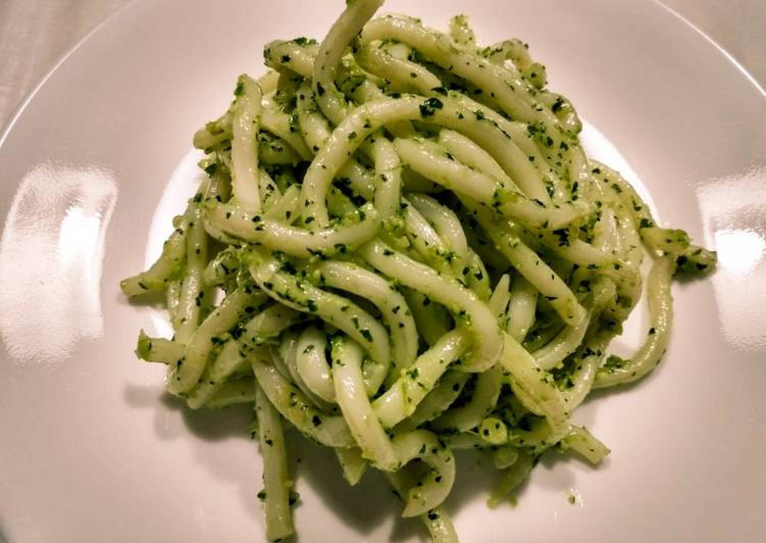 Udon with cilantro pesto