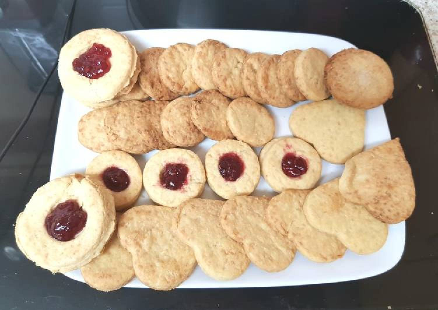 My Shortbread Buscuits some with Raspberry Jam. 😎