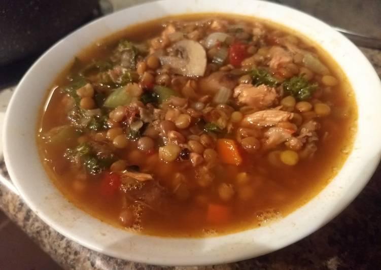 Spicy chicken, lentil, kale soup