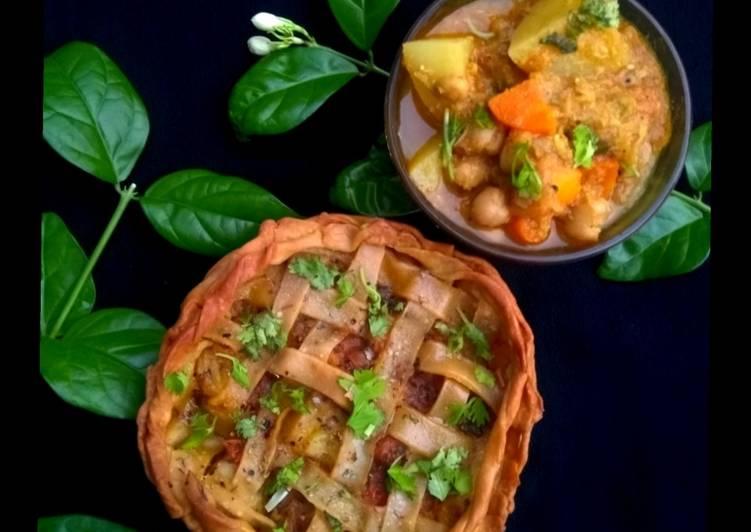 Vegan pot pie - using chickpeas flour  whole wheat aata