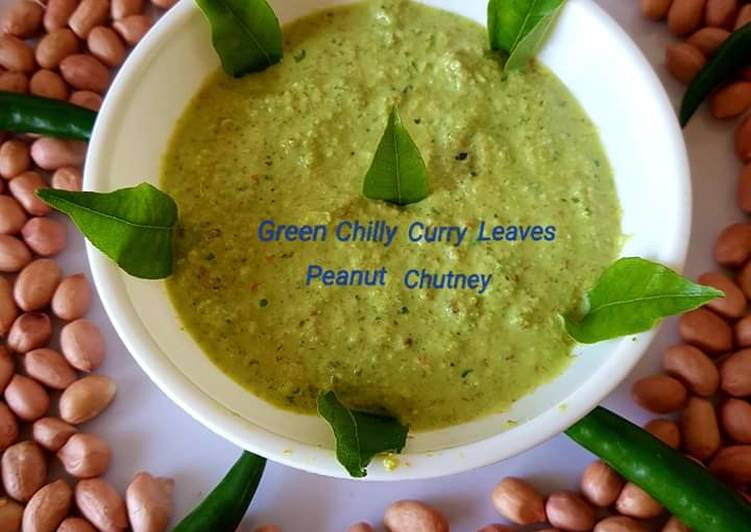 Green chilli curry leaves peanut chutney