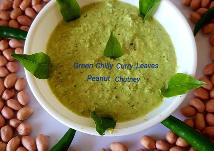 Green chilli curry leaves peanut chutney