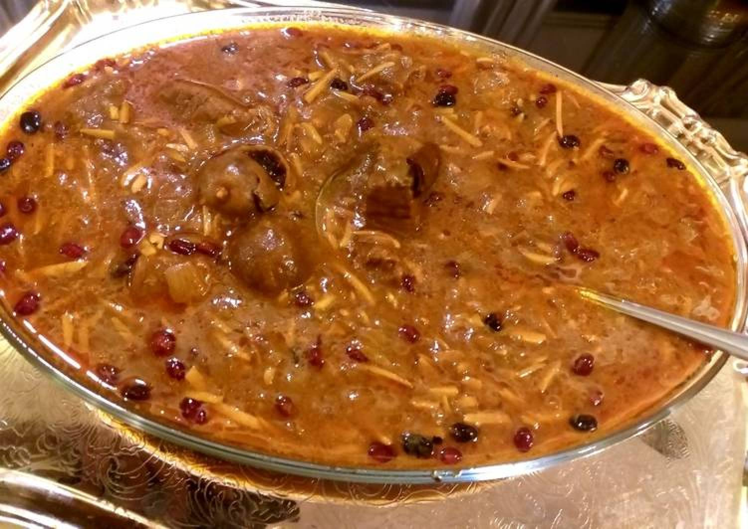 Pesian lamb and almond stew(khoresh khelal Kermanshahi)