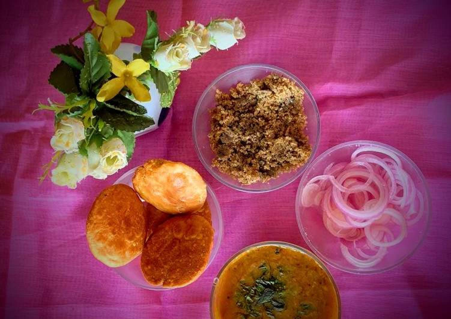 Dal Bati Churma with pickled onions