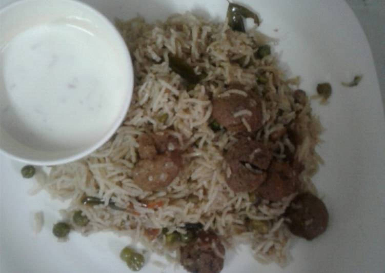 Soya chunks pulao (nutri nuggets)