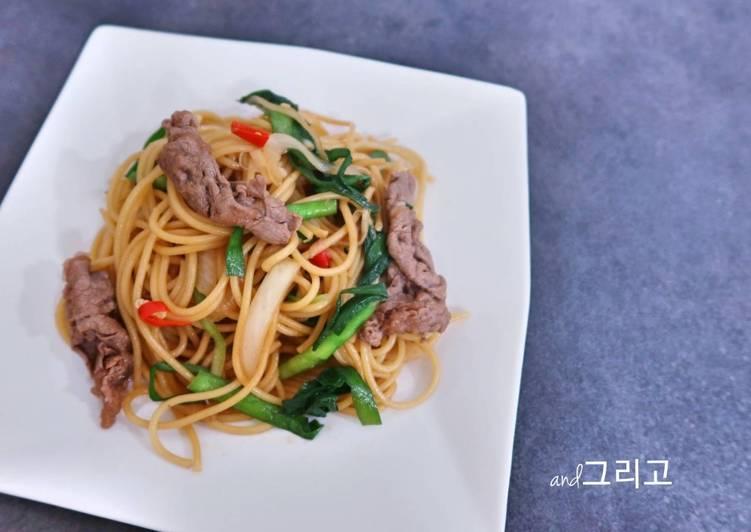 Beef Fried Spaghetti 불고기 볶음 스파게티