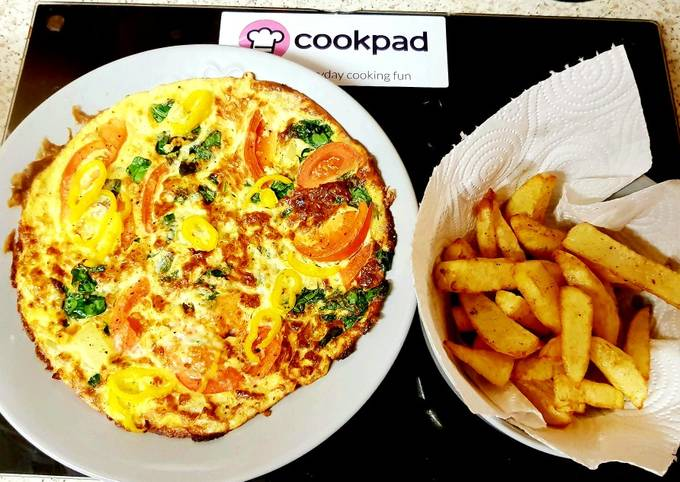 Recipe of Perfect My Cheese Spinach and Tomato Omelette. 😀