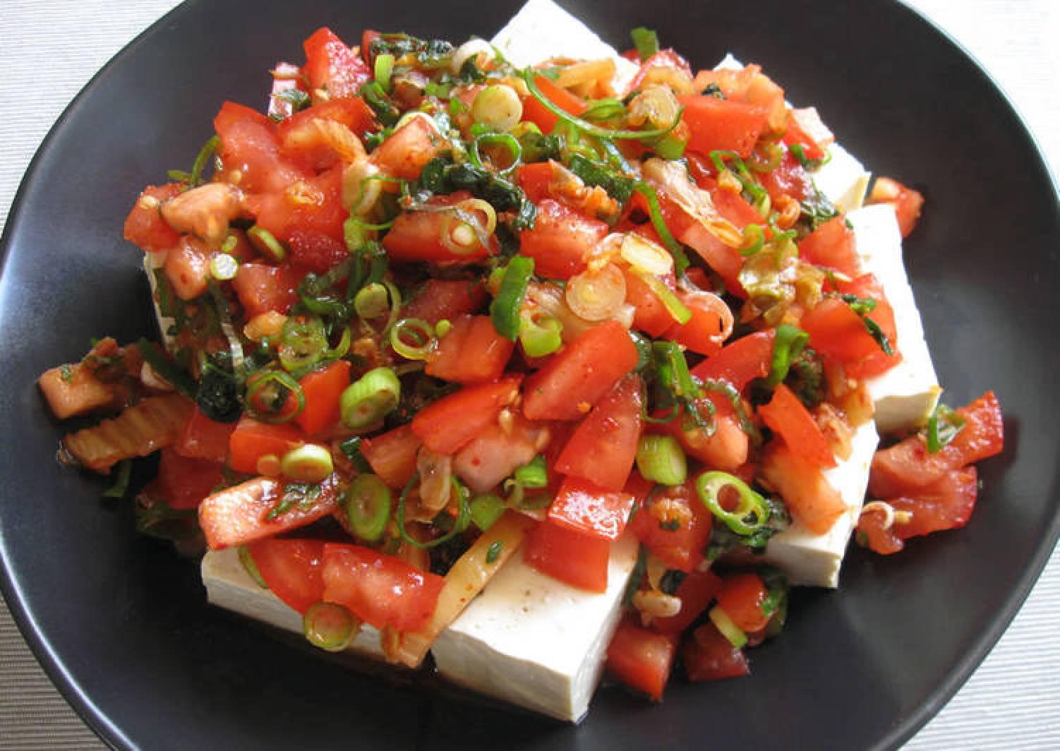 Spicy Tofu, Tomato & Kimchi Salad