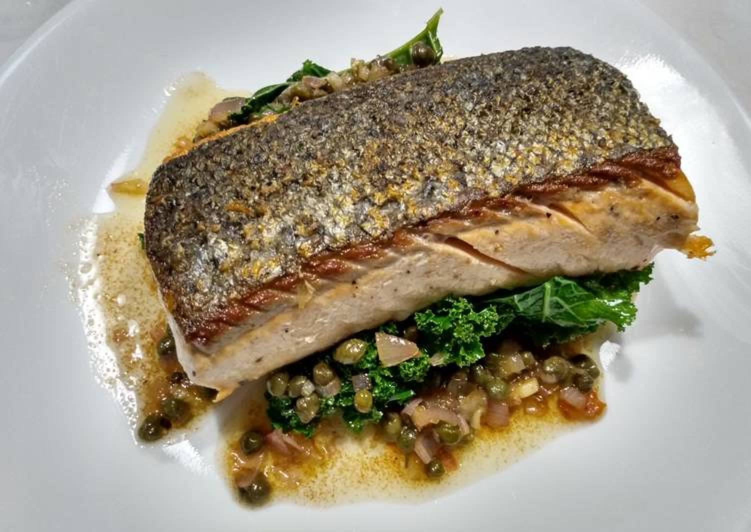 Crispy-skinned salmon with brown butter and capers