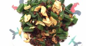 Okra With Seaweed Chilli And Fried Garlic