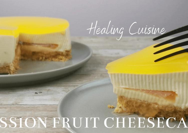 No-Bake Grapefruit Passion Fruit Cheesecake