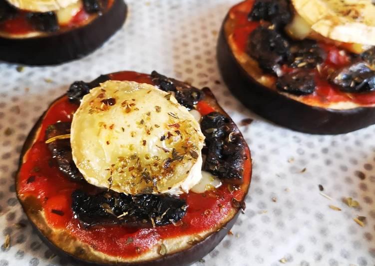Aubergines façon pizza chèvre/tomate/champignons