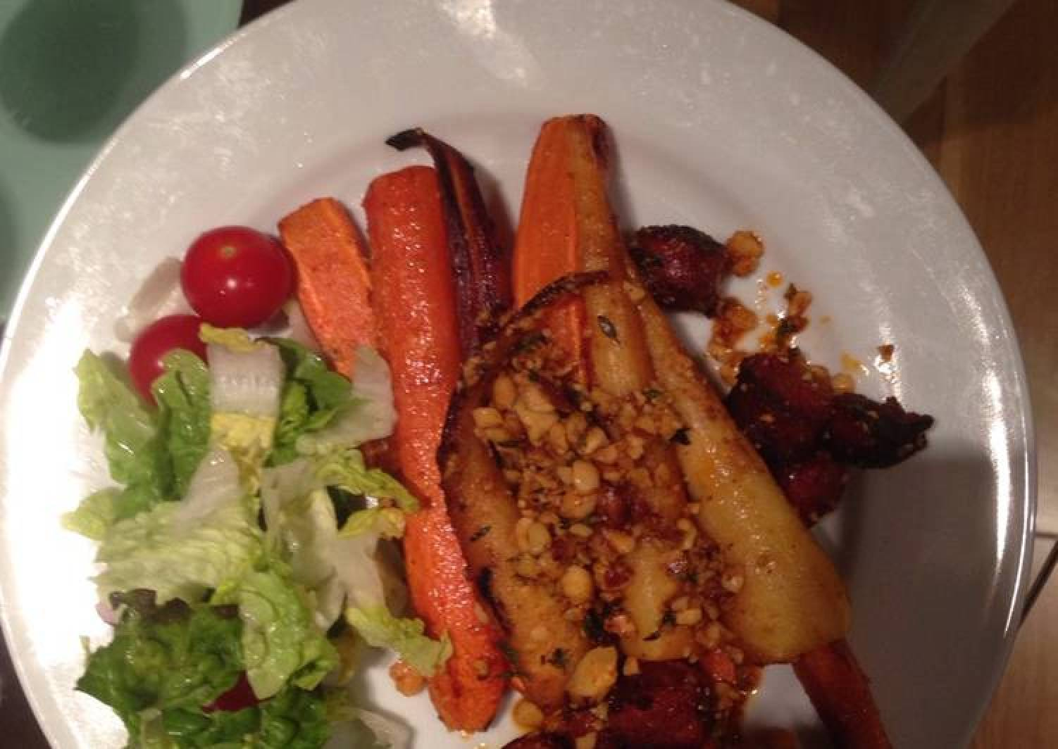 Roasted carrots, parsnips and chorizo